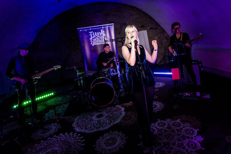 Wedding band Funk Soul Family performing at Shrigley Hall in Cheshire