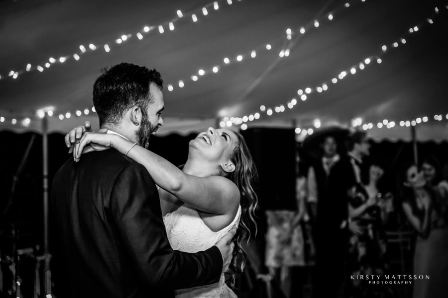 A couple dancing at their wedding reception